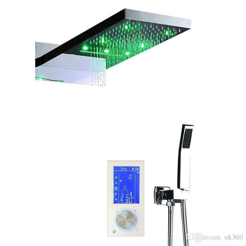 """Digital termostato toque de tela de LED Shower Set 22"""" Cachoeira controlador inteligente Duche Sets Chuveiros Massagem Banheira"""