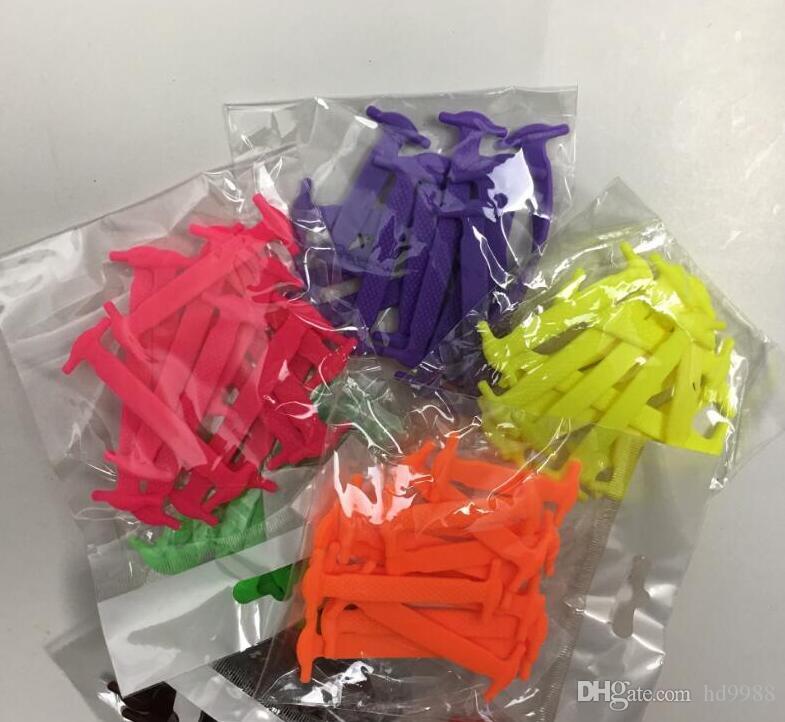 Neue kreative Design-Neutral Mode Design Sport Tie-weniger Shoelaces Elastic Faule Silikon Shoelaces Vollsportschuhe
