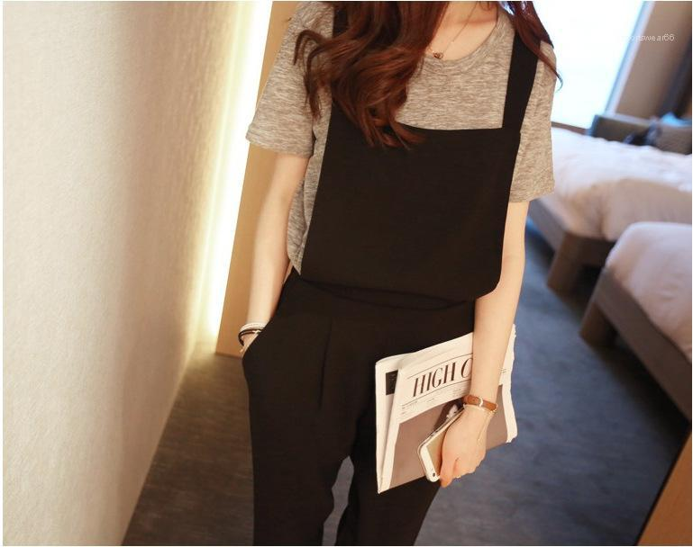 Section New Loose Student Suspenders Jumpsuit High Waist Chiffon Womens Pants Strap Wide Leg Pants Female Summer Capris Thin