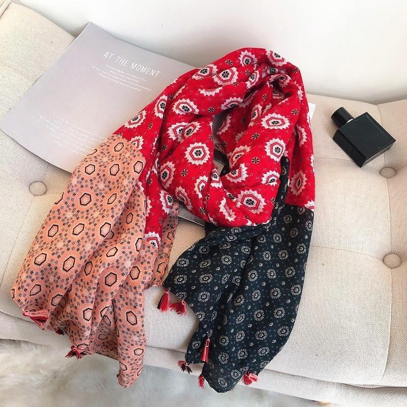 Moda azteca del diseño geométrico floral Polka viscosa del mantón bufanda de la señora de la alta calidad del abrigo estola Bufanda musulmán Hijab redecilla T200407