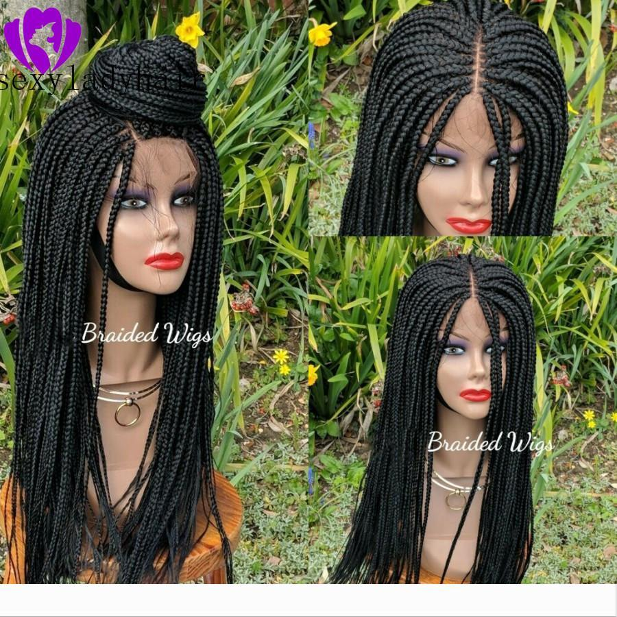 New africa women style cornrow wig Synthetic Lace Front Braids Wigs For Women Black color brazilian Hair full Braided Wigs