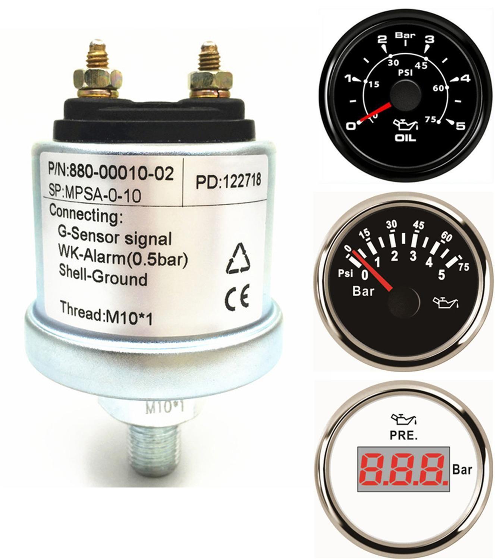 Pack of 1 New NPT-1/8 Mechanical Oil Pressure Gauge Sensors NPT1/8 M10X1 Sensor Thread for 5 Bar 10 Bar Fuel Pressure Gauge