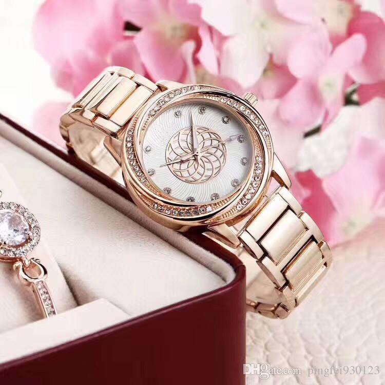 Senhoras de luxo assistir! O melhor presente de alta qualidade à prova d 'água de diamantes de quartzo de aço banda assistir vestidos combinam com a rainha de luxo de ouro