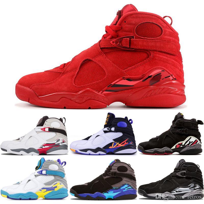 Nouveau arrivent Hommes 8 Aqua Blanc Baskets De Chaussure 8s Hommes Trois Peat Playoff Compte à rebours pack Chrome Trainer Sports Sneaker Chaussures nous 7-13