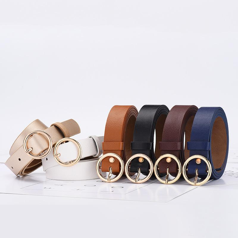 Women Round Buckle Belt Classic Fashion Solid Leather Waistband Wide Belt Strap
