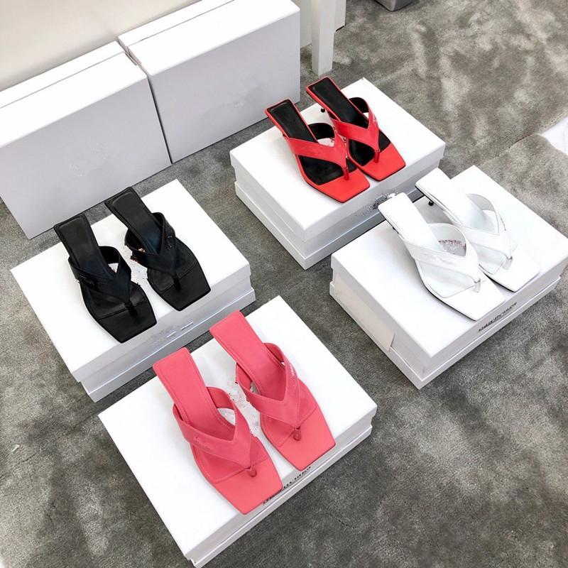 Высокий каблук 4,5 см элегантные женские тапочки дизайнерская Женская обувь натуральная кожа подошва дизайнерские сандалии женская роскошная обувь Бесплатная доставка простой носок