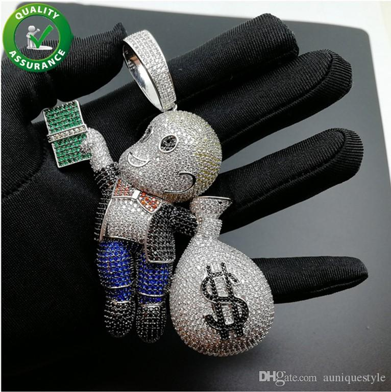 Hip Hop Jewelry Iced Out Mario Money Bag Pendant Luxury Mens Diamond Rhinestone Crystal Match fit Cuban Link Chain Necklace Wedding Gift