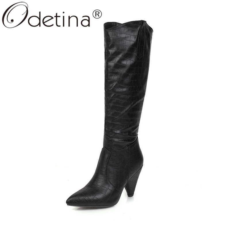 Odetina Frauen Mode Spitzschuh karierte Kniehohe Stiefel Damen New Fadenheft Extreme High Heel Slip-on-Winter-lange Stiefel