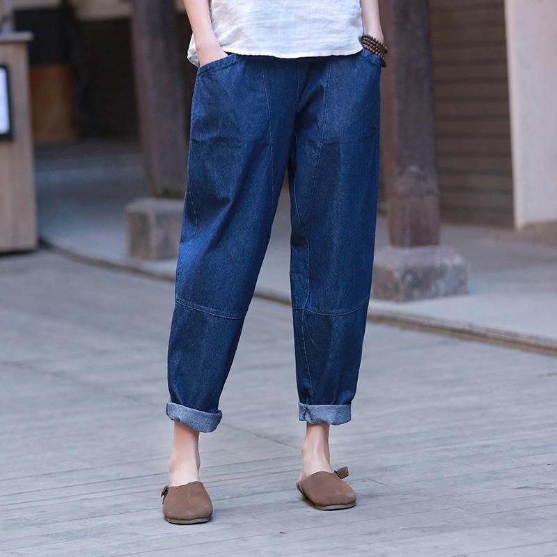 Johnature Patchwork-Denim-Hosen Taschen Frauen-elastische Taillen-Hosen 2020 Frühling-neue Fest Farbe beiläufige Frauen gerade Hosen Y200418