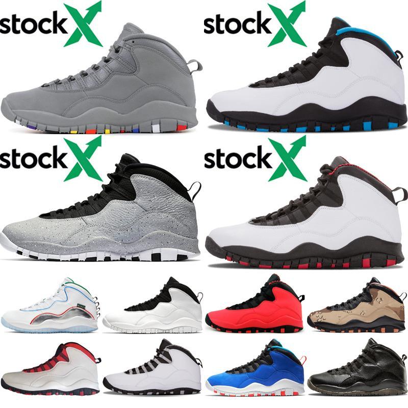 10 chaussures gris ciment cool mens de basket-ball 10s Tinker Huarache Poudre de Bleu Gris Acier Desert Camo Sport Chaussures d'athlétisme en plein air