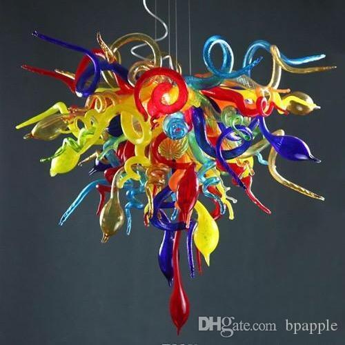 Multicolor Рука выдувное стекло люстры Современные муранского стекла LED Люстра Свет висит кулон освещение для украшения дома