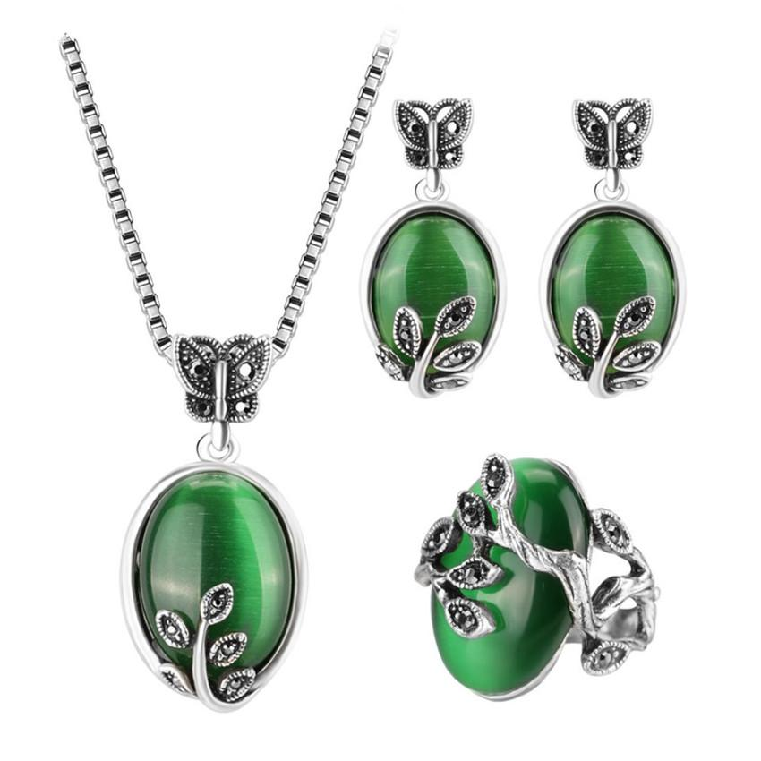 Wholesale 5 Set Silver Plated Stackable Malachite Stone Necklace Earrings Green Opalite Opal Personalized Jewelry Sets