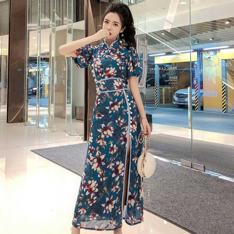 2020 cinese Dress Cheongsam Qipao Vestido Abito Chino Oriental Cheongsam della biancheria Collare del mandarino Kimono Stile Alta Split Qipao
