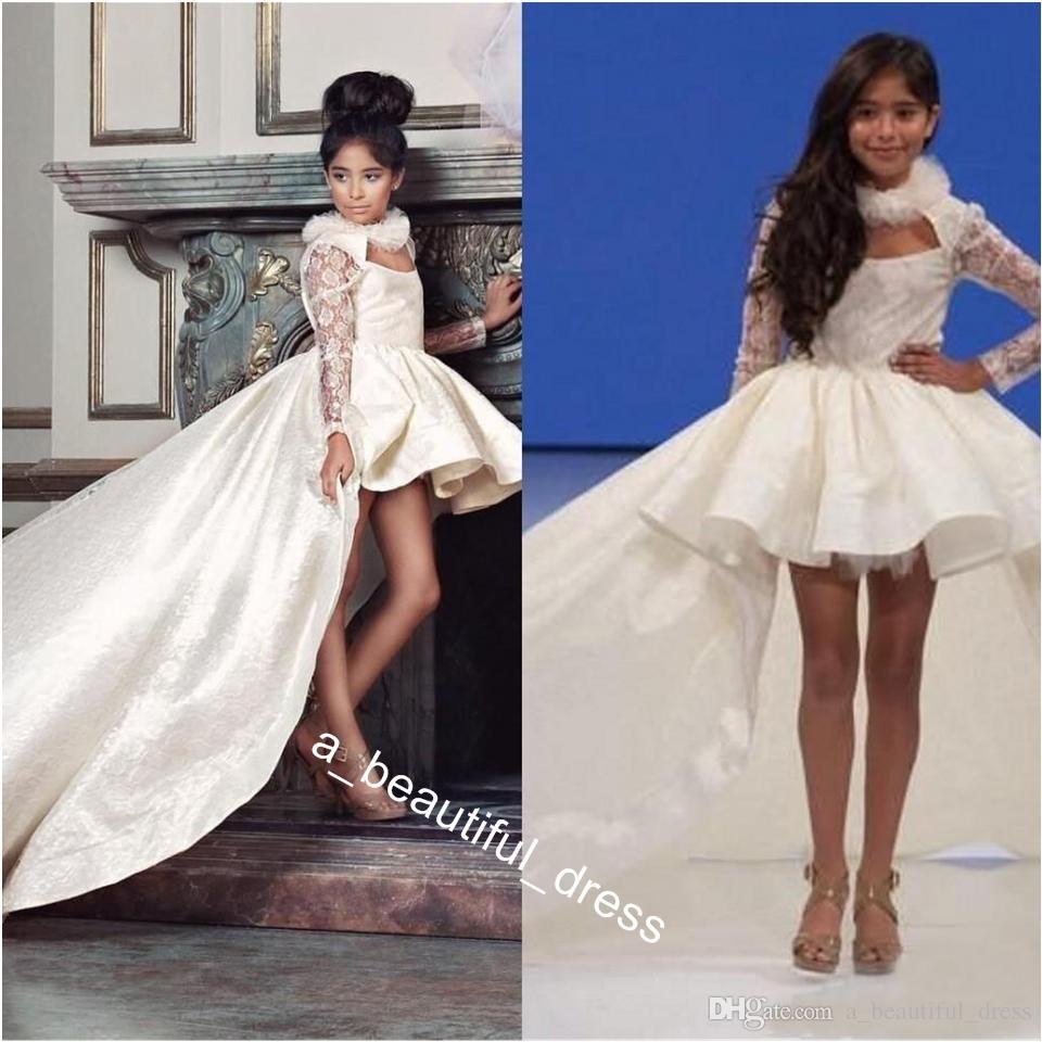 Hi-Low Girls Pageant Dresses For Teens Halter Satin Lace Long Sleeves Communion Dress Party Birthday Flower Girl Dresses Children FG1289