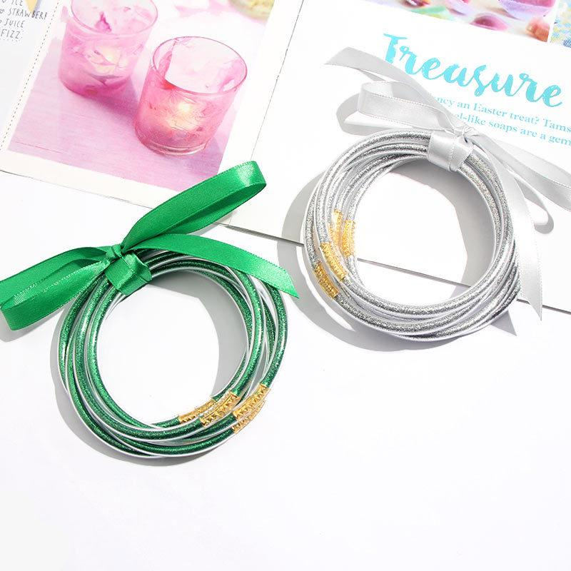 3UMeter 5-teiligen Flash-Armband-Gelee-Frauen Bowknot Set Armband 9 Farben Kunststoff-Plus Gold Leichtbau-Armband