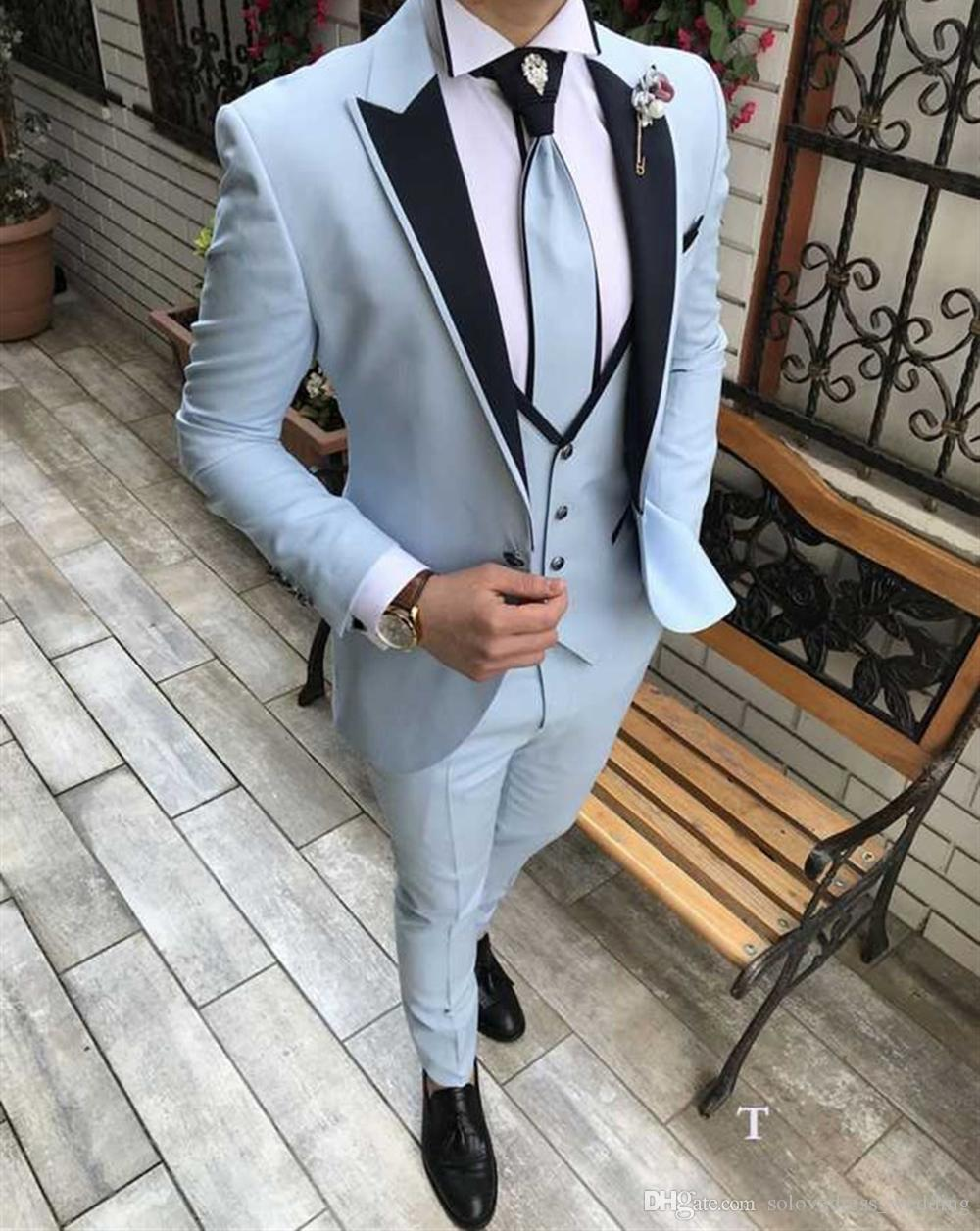 Latest Blue 3 Pieces Men Suit Prom Tuxedo Slim Fit Notch Lapel Groom Wedding Suits For Men Custom Blazer Terno Masuclino