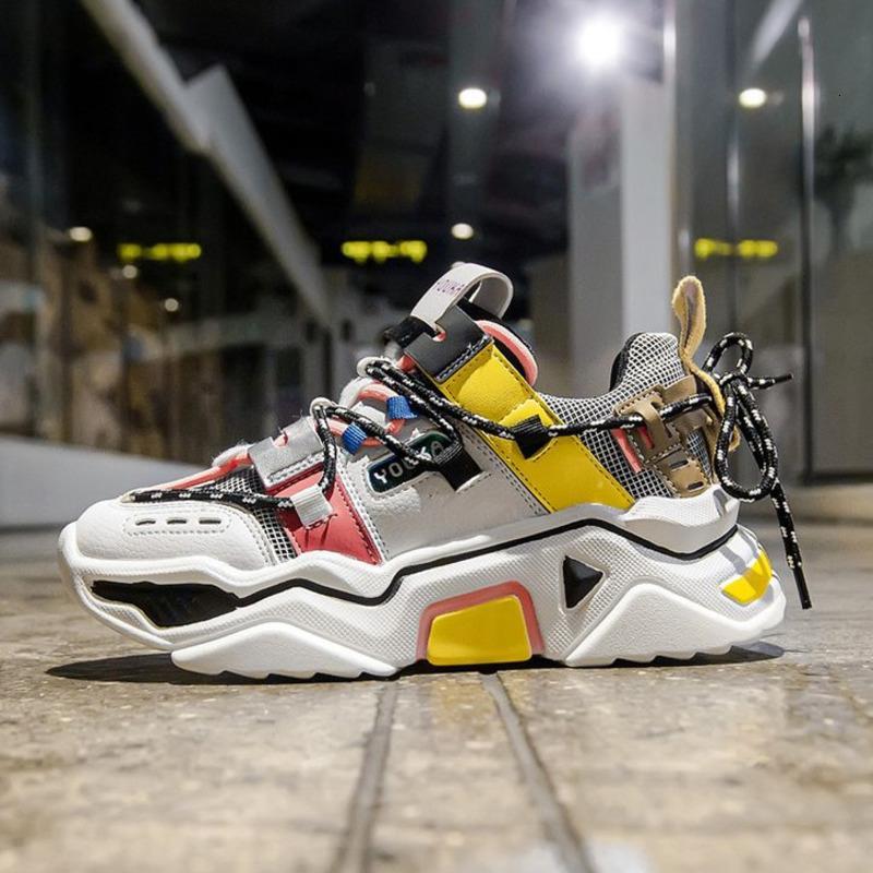 Женщины Платформы Коренастых кроссовки 5сма высокой шнуровки Повседневной обувь вулканизации роскошь Дизайнер Старого папа женщина мода кроссовки 2019 SH190928