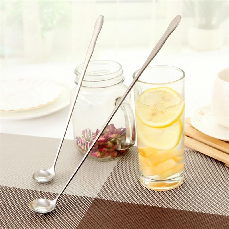 Largos de acero inoxidable mango de una cuchara de té del café de la leche agitación cuchara de mezcla de helado de la cucharada de postre del hogar Accesorios de cocina