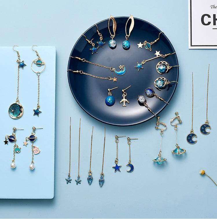 Art und Weise nette koreanische Ohrstecker Blau Ohrringe mit Starry-Stern-Charme baumelt Fantasie Quaste Statement Ohrringe Modeschmuck für 14 Paare Frauen
