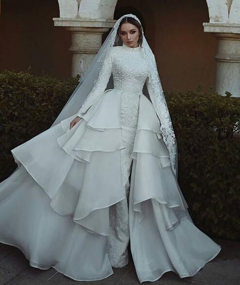 Vestiti Da Sposa Wedding.White Lace Applique High Neck Muslim Long Sleeve Wedding Dresses