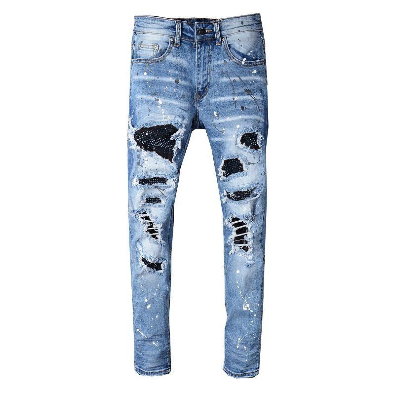 Mens Designer Jeans Letra Impreso Impreso Rompe Parches de diamantes Slim-Leg Jeans Denim Pantalones de mezclilla Club de moda Club de ropa Hombre Hip Hop Flyny 28-40