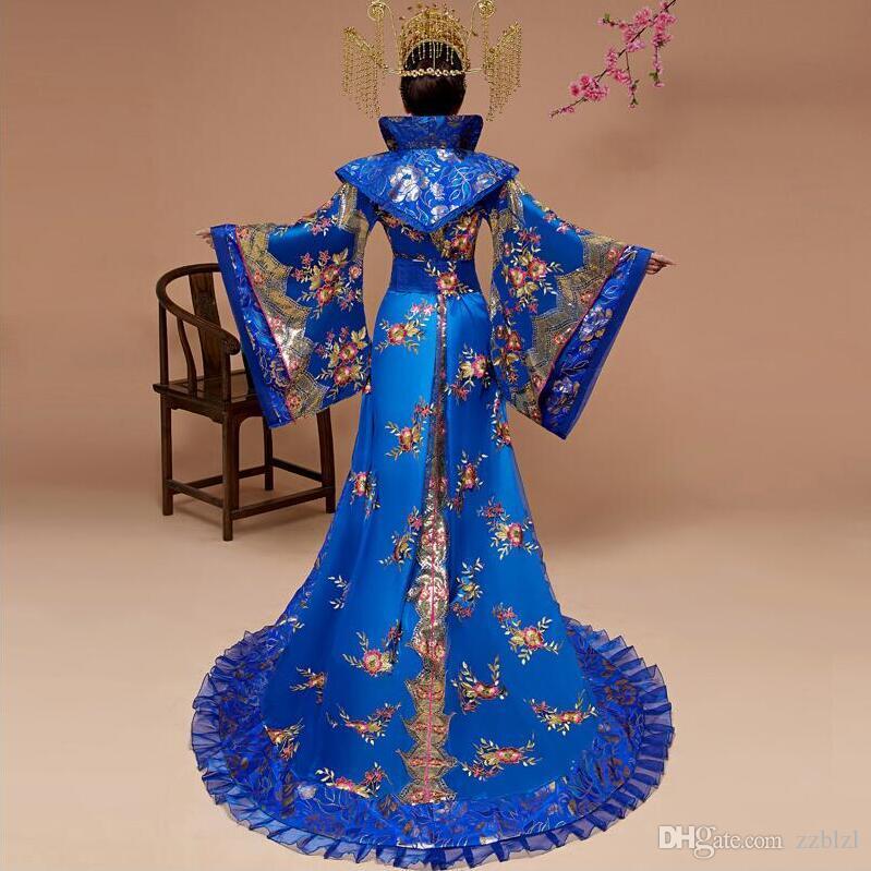 Oriental antiche regine Principesse Corte Grande Maniche Outfit prestazioni Antico Donne Hanfu Abiti Imperiale Concubines coda costume blu