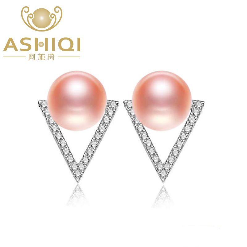 ASHIQI Geniune 925 Sterling Silver 7-8mm Natural Freshwater Pearl Earring Geometric Triangle For Women Fine Jewelry