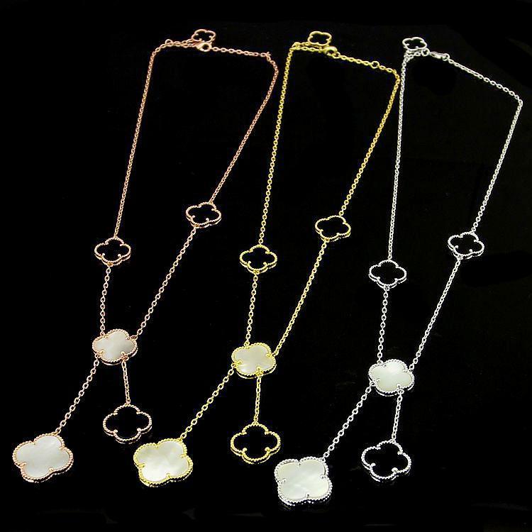 جديدة مجوهرات زهرة البرسيم قلادة للنساء قلادة طويلة أسود أبيض الأم شل قلادة من اللؤلؤ دروبشيبينغ
