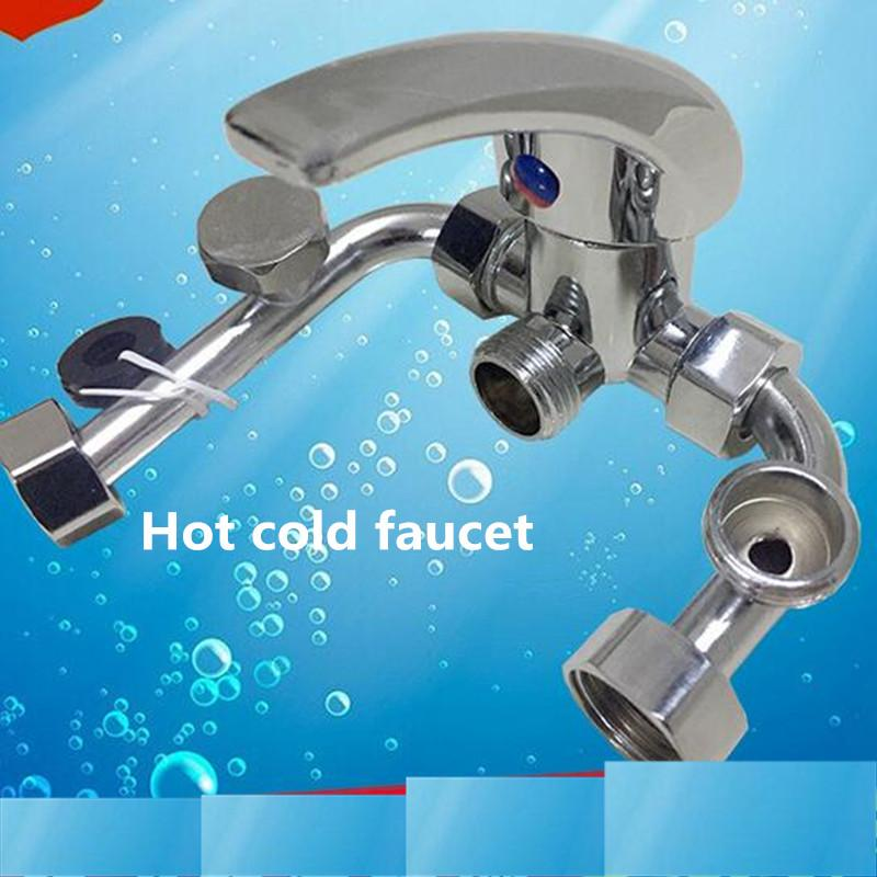 Bathroom kitchen faucet Electric water heater U-shaped valve copper main hot and cold faucet bright shower mixed water valve 23
