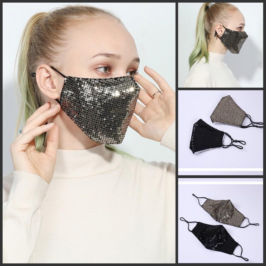 Livraison gratuite Mode 3D bling Lavable réutilisable Masque PM2,5 Soins du visage pare-soleil de couleur d'or Coude Paillettes Designer Face Party Masque Face Mask