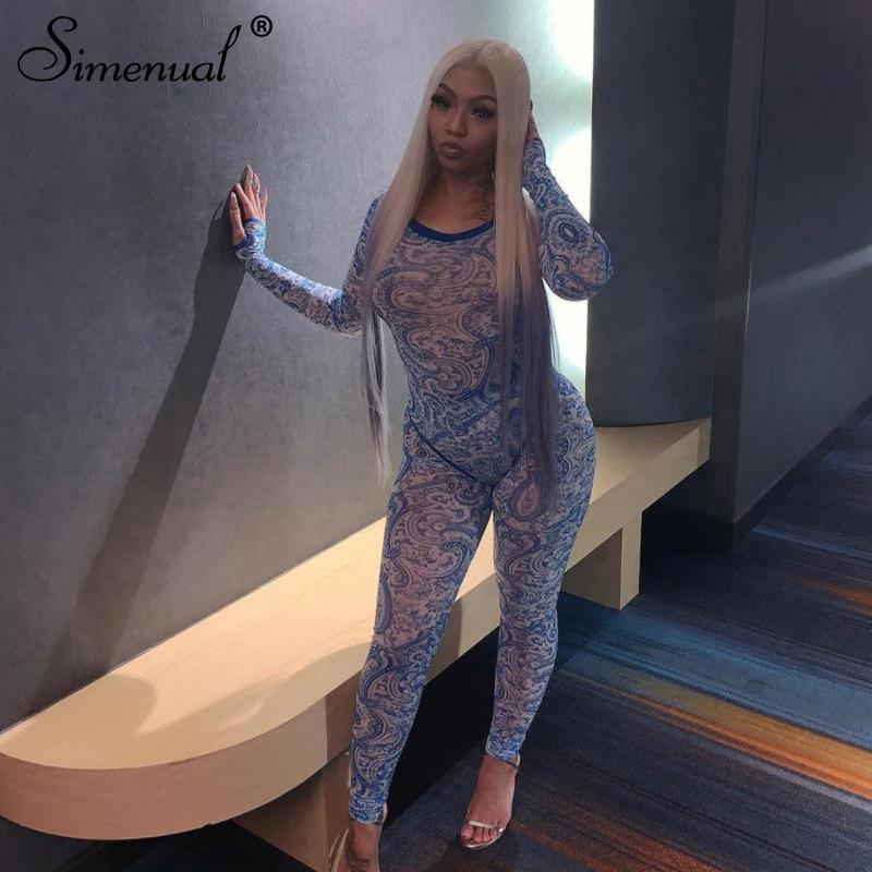 Simenual Mesh Hot Sexy Transparent Two Piece Set Women Print Fashion 2019 Skinny Outfits Long Sleeve Bodysuit And Pants Sets New Y200110