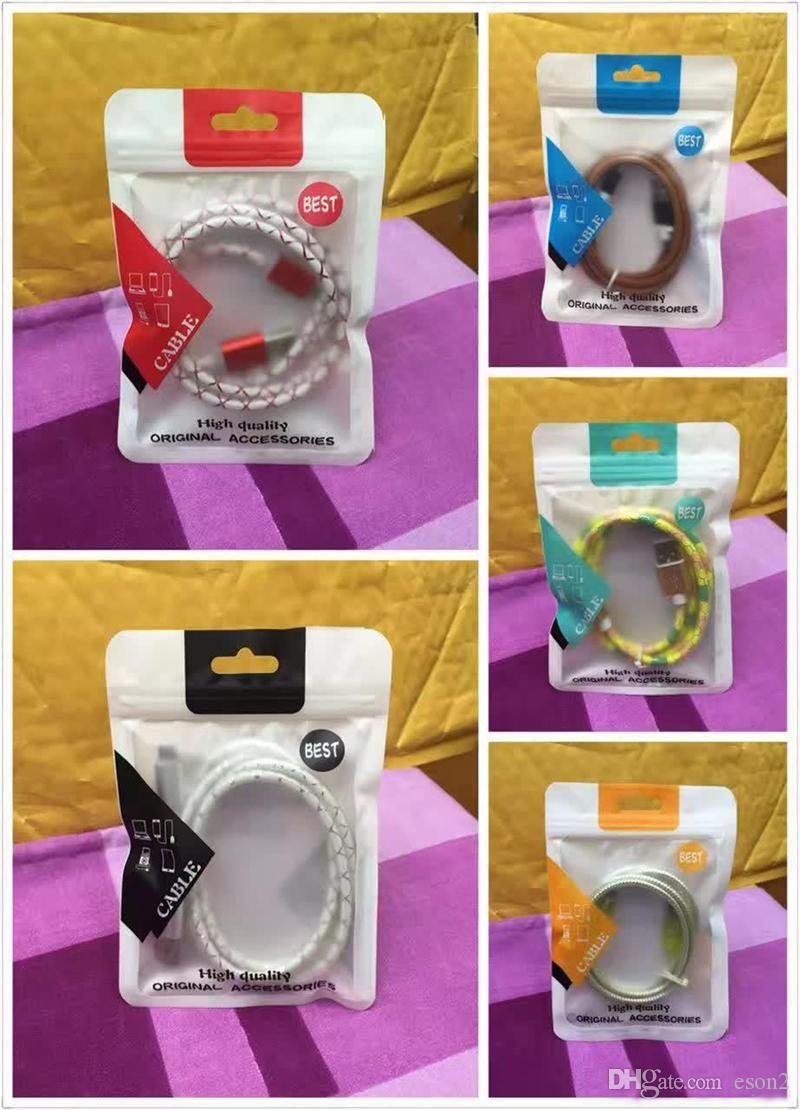 10.5 * 15 centímetros cabos de dados de retalho da embalagem caixas de embalagem de saco Zipper PVC OPP Poly Embalagem Sacos para cabos usb