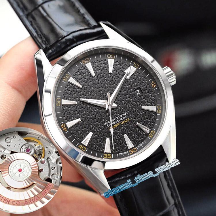 Hohe Version 150M 231.10.42.21.01.006 8800 automatische mechanische Sapphire Herrenuhr mit schwarzem Zifferblatt Silber-Stahl-Gehäuse Lederband Uhren