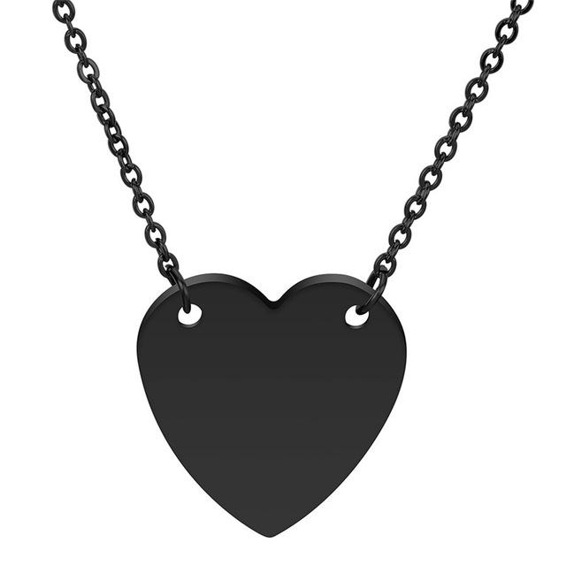 New Simple Gold/Silver/Black Color Heart Necklace For Women Stainless Steel Heart Shape Pendant Necklace Gift