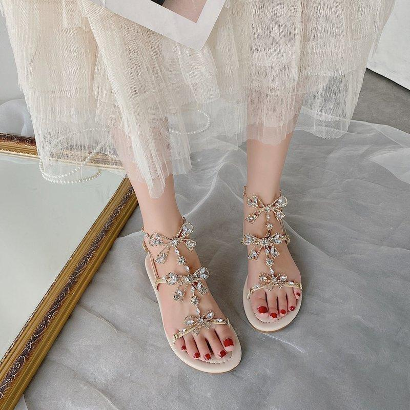Fashion Womens Shoes 2020 All-Match Clear Heels Rhinestone Sandals Suit Female Beige Buckle Strap With Low Heeled