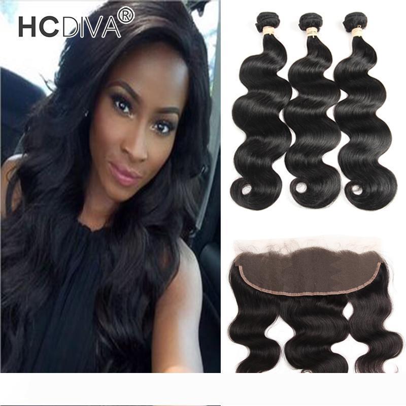 Brésil Virgin Body vague Bundles cheveux non transformés en dentelle Frontal 13 * 4 humain tissage de cheveux Bundle 3 pièces avec Frontal bonne note 8A