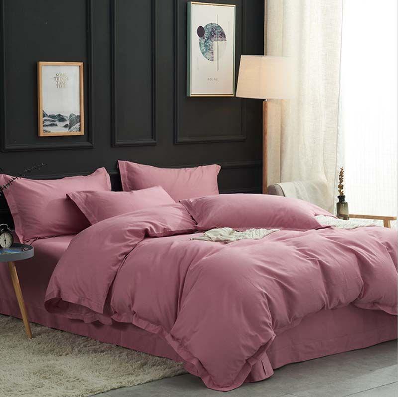 FB18010 두께 면화 침구 세트 단색 부드러운 목화 bedsheet 순수한 색상 홈 섬유 4pcs / set 면화 duvet 커버 bedsheet 베개