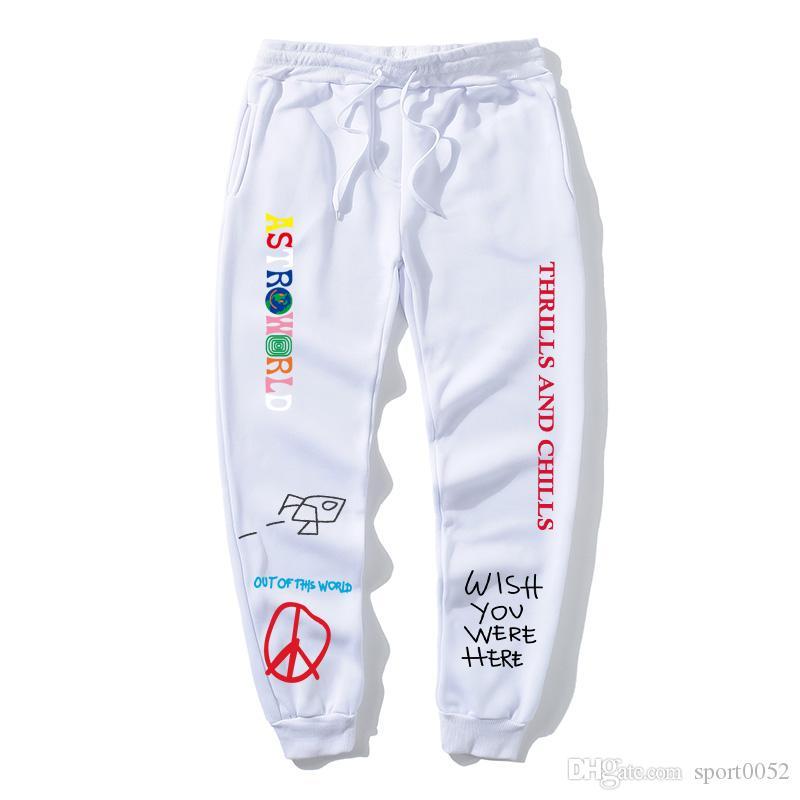 TRAVIS SCOTT ASTROWORLD letter printing high quality fleece trousers women's men's jogging pants hip hop street clothing men's sports pants