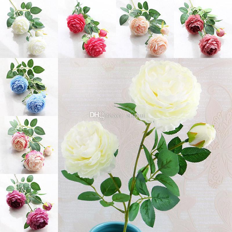 Yapay Çiçekler Güller Şakayık Üç Çiçek Başları Bahçe Düğün Parti Dekorasyon Simülasyon Sahte Çiçek Baş Noel Hediyesi WX9-70
