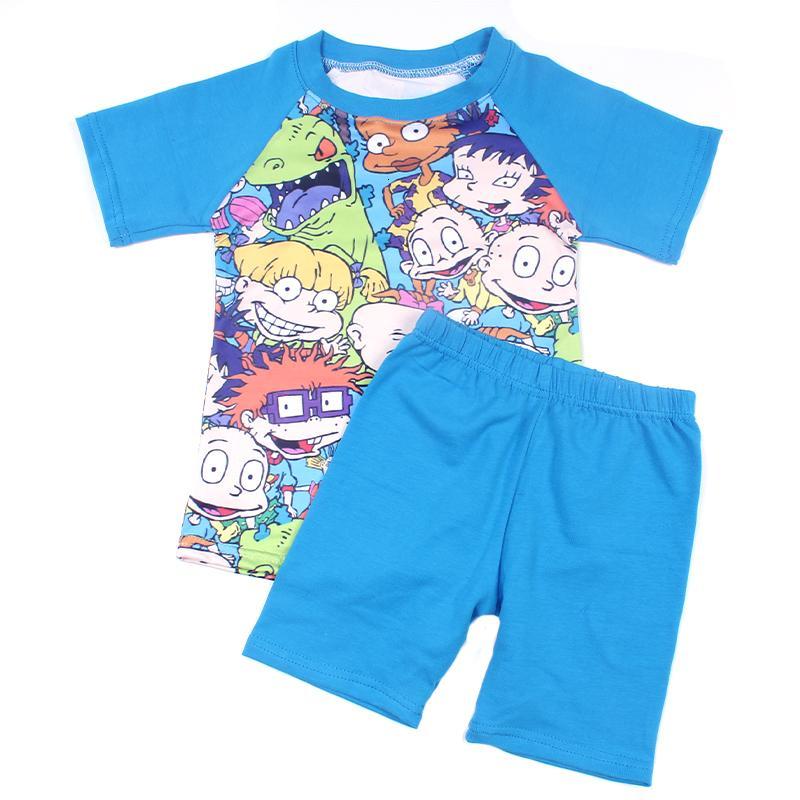 2019 Spring Summer Baby Boy Clothing Set Boy Blue Raglan Shirt Lovely Kids Printed Short Sleeve Boutique Tshirt Milk Silk TopMX190916
