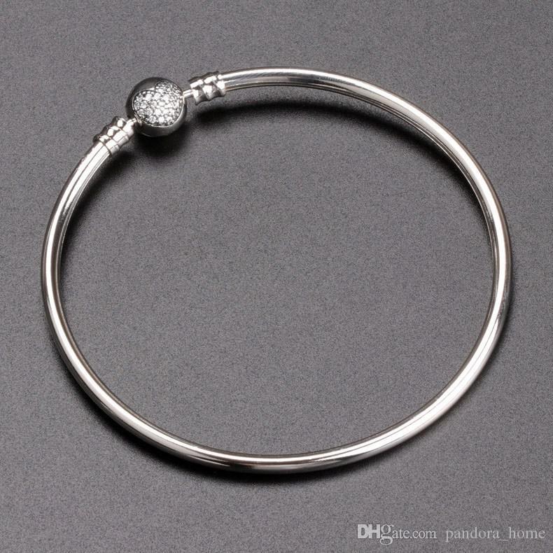새로운 유럽 구슬 팔찌 럭셔리 디자이너 925 스털링 실버 CZ 다이아몬드를 들어 판도라 고품질 숙녀 팔찌 휴일 선물 상자