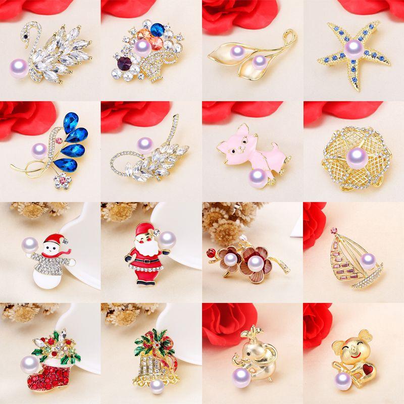 100% Pearl Брошь для женщин Циркон Pins 7-10mm Pearl Брошь 36 стилей Кристалл броши ювелирные изделия Рождественский подарок Present 4PCS / LOT