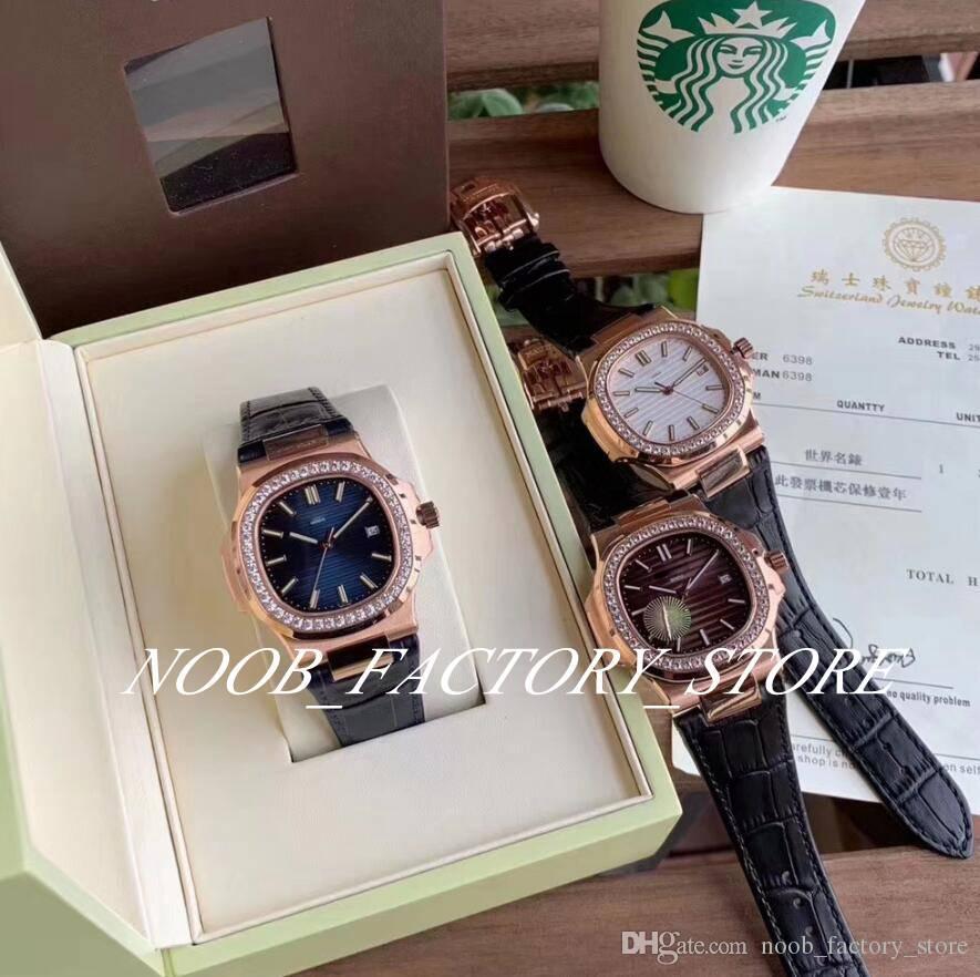 3 cores Rose Gold Bezel Diamante de luxo fábrica 40MM Sports elegante série 5711 Cal.324 S Movimento C Automatic Leather Strap Men Watch