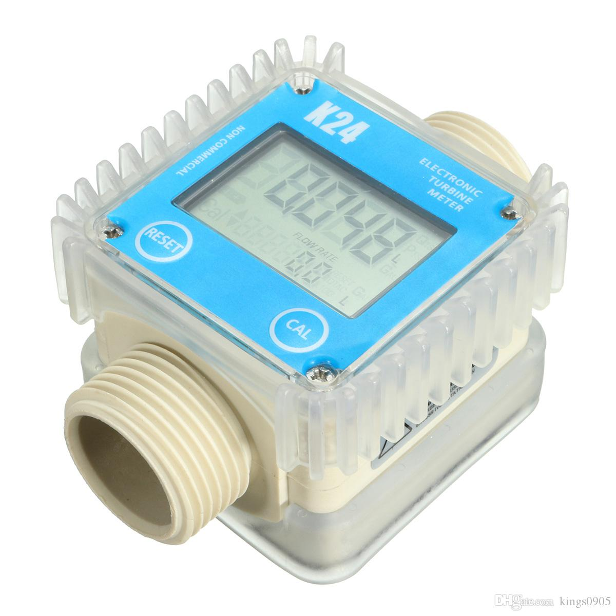 """Fuel Flow Meter K24 1"""" -Turbine- Digital -Diesel- Guage Counter For Chemicals Water 0.6MPa 10-120L/Min"""