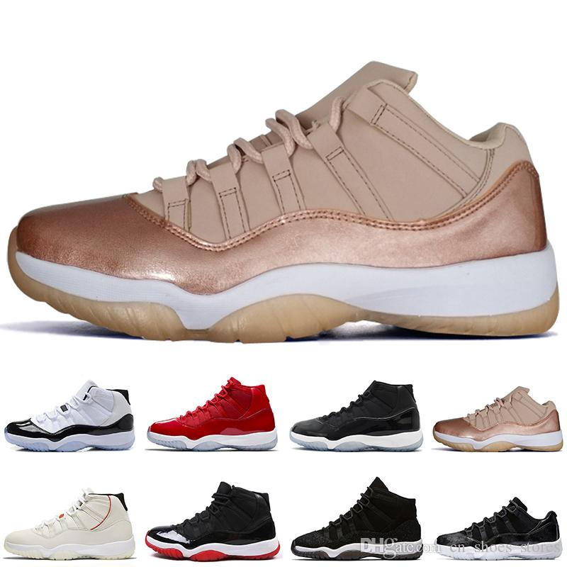 NEW 11 11S Low Rose Gold Space Jams 45 mens Basketball Shoes Midnight Navy Concord 45 23 Heiress Black Stingra men Sport Sneakers trainers