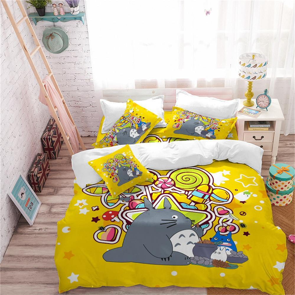 Yellow Totoro Duvet Cover Kids Colorful Candy Print Bedding Set Twin Full Queen King Cartoon Bedding Polyester Bedclothes D45