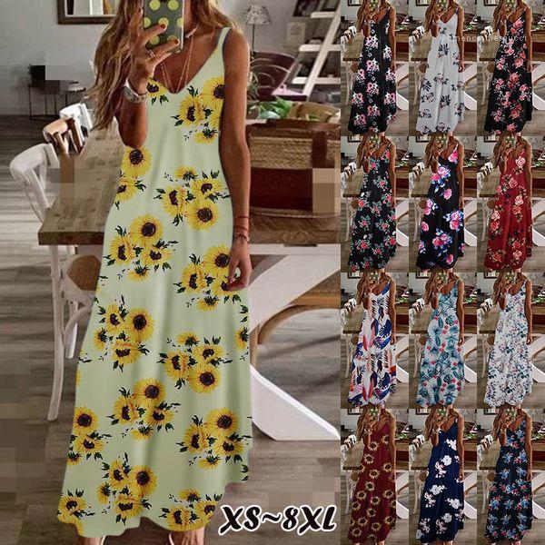 Kleid Art und Weise gedruckte Sleeveless loses beiläufig Ferien lange Kleid Famale Lässige Kleidung Damen mit V-Ausschnitt Strand