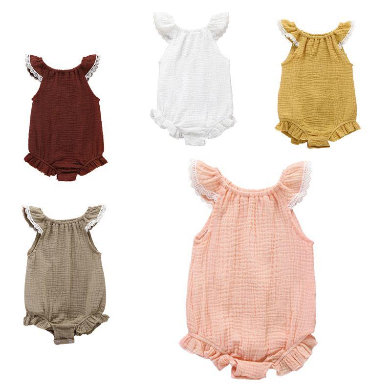 الرضع الفتيات السروال القصير 5 ألوان الصيف أكمام كشكش أضعاف الرباط بذلة واحدة برستد نيسيس الفتيات ملابس 0-3T