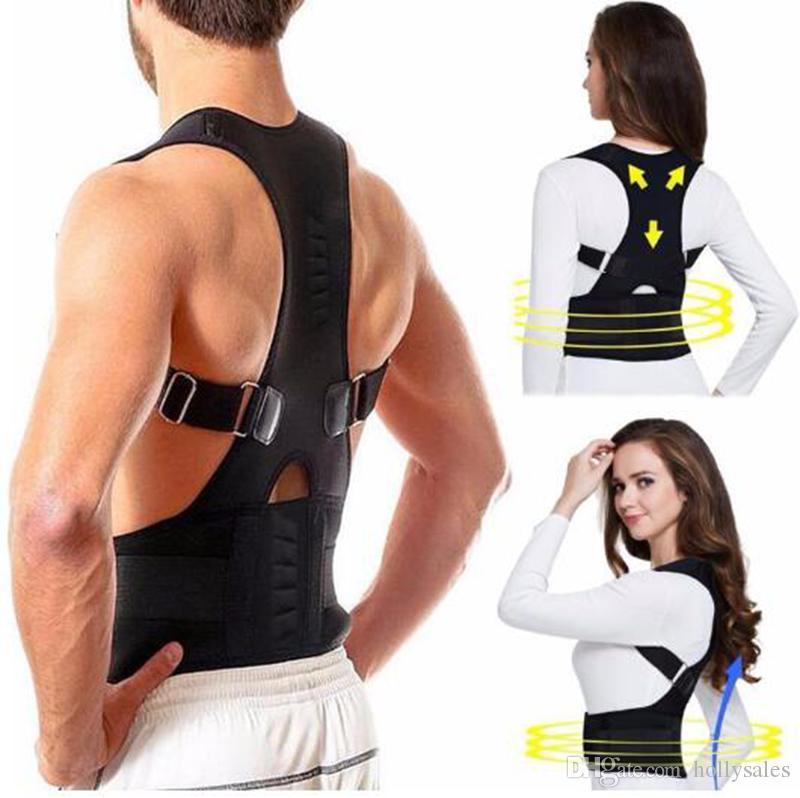 Hot Masculino Feminino ajustável Magnetic Posture Corrector Corset Voltar Brace Voltar Belt lombar Apoio Direto tamanho Corrector Despalda S-XXXL