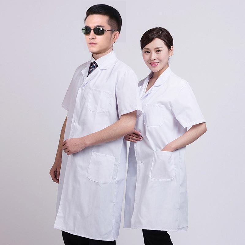 Escudo unisex del verano blanco del laboratorio de manga corta bolsillos de ropa de trabajo uniforme Ropa NFE99